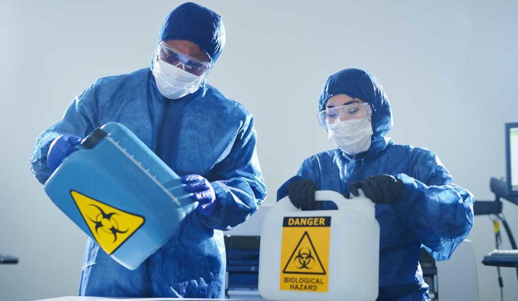 materiale pericoloso sotto analisi