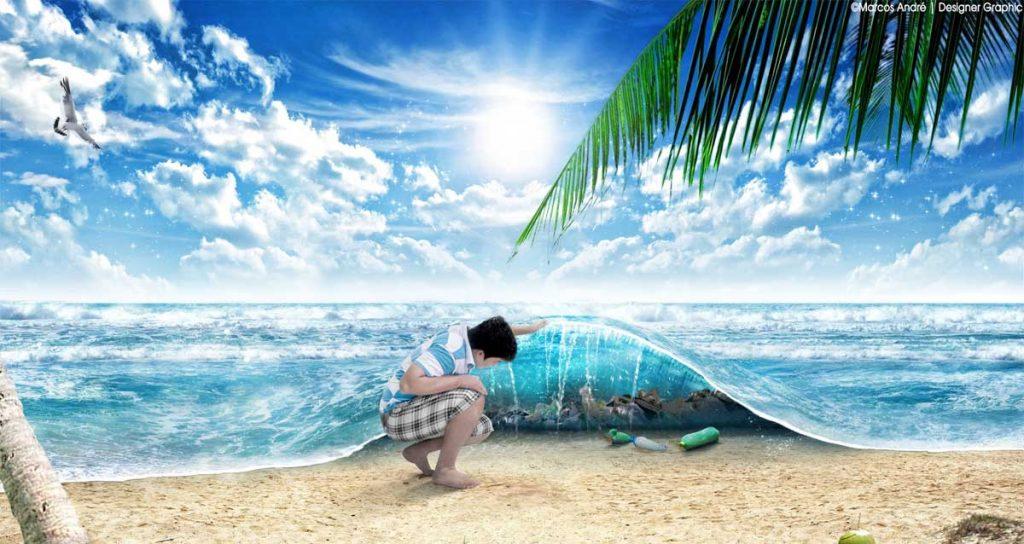Bambino solleva il mare come una coperta e scopre che è inquinato